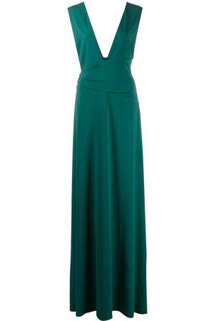 Halston Heritage Women Evening dresses - Plunge-neck floor-length gown
