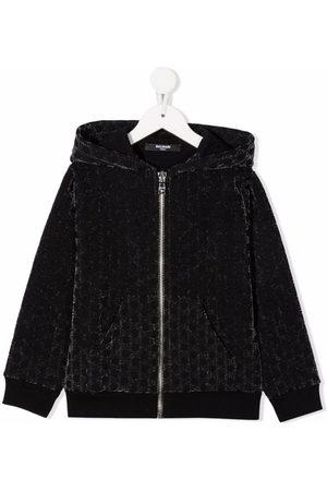 Balmain Girls Bomber Jackets - Monogram-pattern velvet-effect jacket
