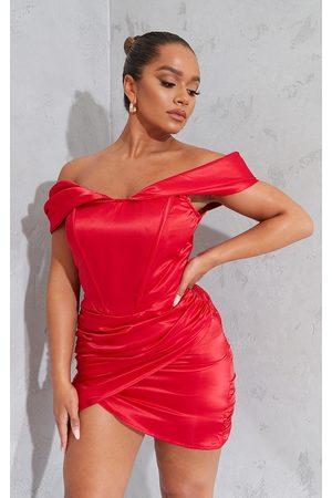 PRETTYLITTLETHING Women Bodycon Dresses - Shape Ruched Corset Detail Bardot Bodycon Dress