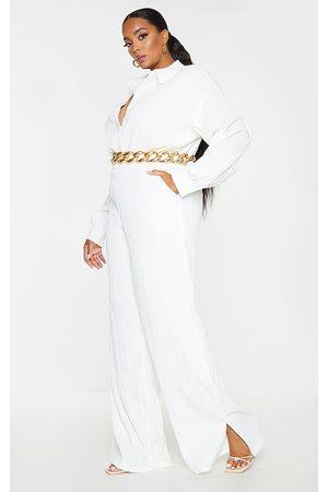 PRETTYLITTLETHING Plus Linen Look Drape Jumpsuit