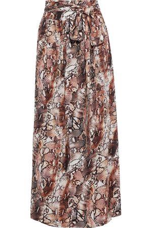 Melissa Odabash Women Printed Skirts - Woman Elsa Belted Snake-print Voile Maxi Skirt Animal Print Size L