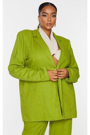PRETTYLITTLETHING Women Blazers - Plus Olive Linen Look Oversized Blazer