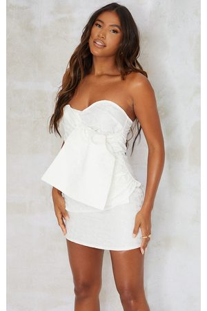 PRETTYLITTLETHING Women Bodycon Dresses - Jacquard Wrap Bandeau Bodycon Dress