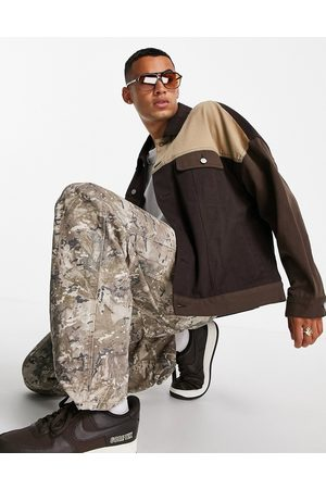 ASOS DESIGN Men Denim Jackets - Cut and sew oversized denim western jacket in