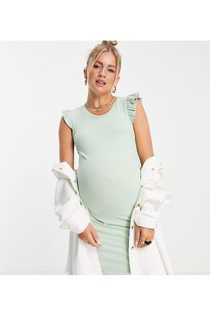 Mama.licious Mamalicious Maternity frill sleeve jersey mini dress in