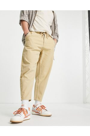 Pull&Bear Balloon fit pants in stone-Neutral