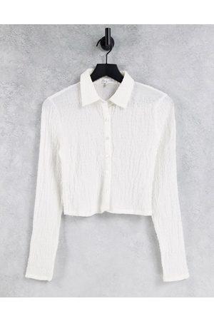 Emory Park Women Shirts - 90s shrunken shirt in crinkle ivory