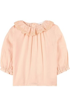 Chloé Kids - Viscose Embroidered Collar with Pearl Buttons Blouse - 18 months - - Blouses