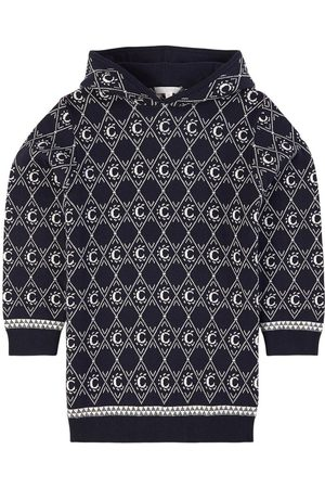 Chloé Kids - Navy Jacquard Knit Dress - 4 years - Navy - Casual dresses