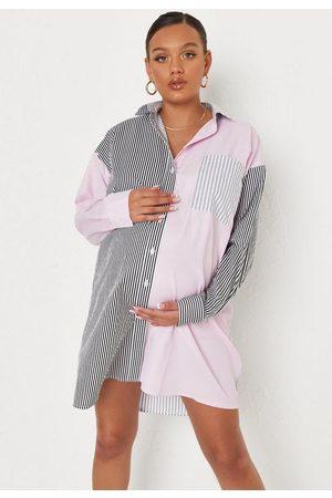 Missguided Pink Stripe Colorblock Spliced Poplin Maternity Mini Shirt Dress