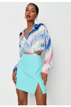 Missguided Blue Satin Wrap Around Shirt