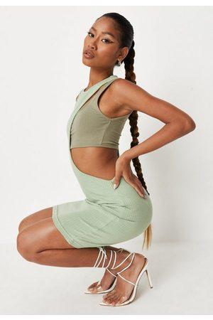 Missguided Sage Rib Colourblock Bralette Overlay Cut Out Mini Dress