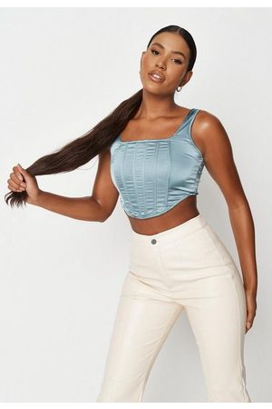 Missguided Turquoise Satin Cami Corset Top