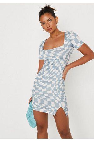 Missguided Checkerboard Print Seam Mini Dress