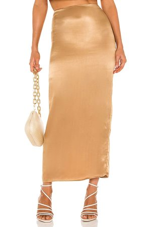 Camila Coelho Selina Maxi Skirt in Metallic Copper.
