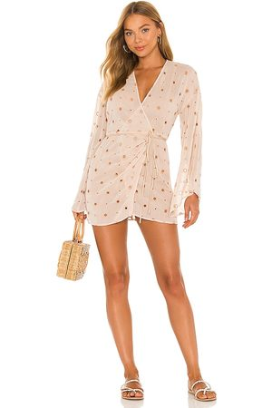 Camila Coelho Isabella Kimono Wrap Dress in Nude.