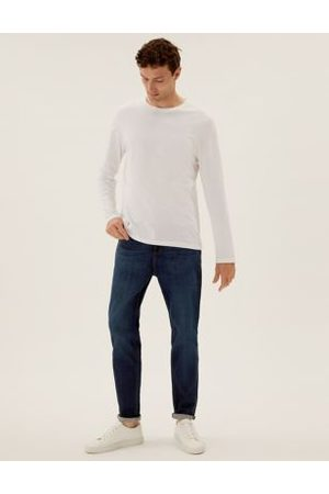M&S Collection Tapered Fit Vintage Wash Stretch Jeans