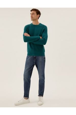 M&S Collection Men Stretch - Tapered Fit Vintage Wash Stretch Jeans