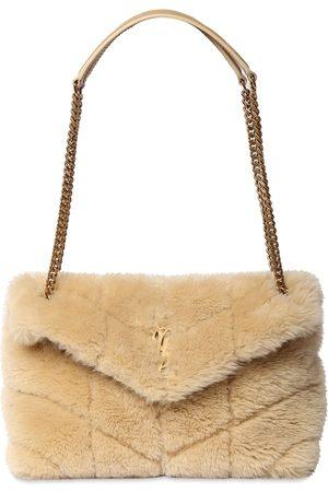 Saint Laurent Small Loulou Puffer Shearling Bag