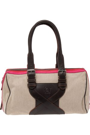Loewe Women Bowling Bags - Canvas And Leather Bowling Bag