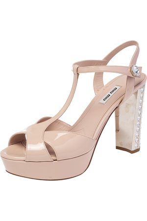 Miu Miu Patent Leather T Strap Crystal Embellished Heel Platform Sandals Size 40