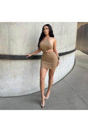 simmi.com Women Party Dresses - Escape Camel Halterneck Knot Mini Dress