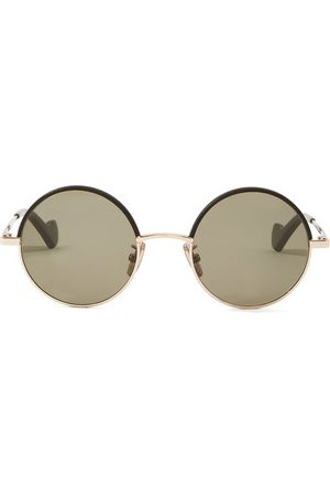 Loewe Leather-trimmed round metal sunglasses