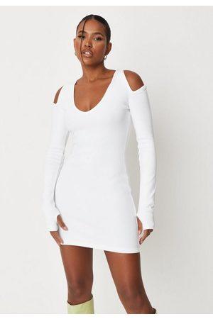Missguided Rib Cut Out Shoulder Bodycon Mini Dress