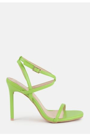 Missguided Lime Cross Over Strappy Heeled Sandals