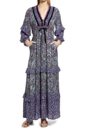BTFL-life Women's Paisley Metallic Long Sleeve Dress