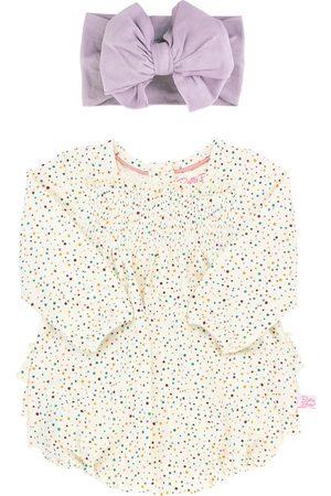 RuffleButts Infant Girl's Spotty Dotty Bubble Romper & Headband Set