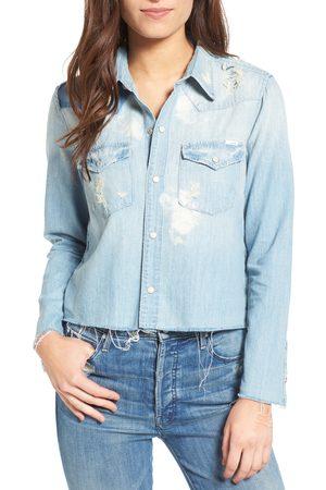 Mother Women's Super Ex's Crop Denim Shirt