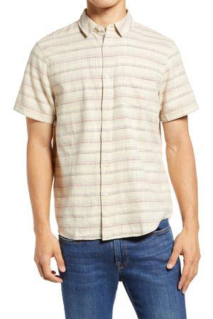 Marine Men's Stripe Selvedge Short Sleeve Cotton Button-Up Shirt