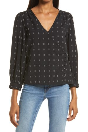 Madewell Women's Kinston Textured Dobby Side Button Wrap Top