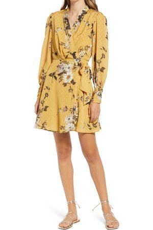 BTFL-life Women's Floral Long Sleeve Wrap Minidress