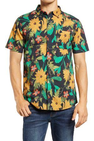 Roark Revival Men's Wildflower Short Sleeve Organic Cotton Blend Button-Up Shirt