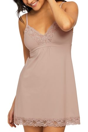 Montelle Intimates Women's Lace Trim Full Support Chemise