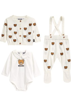 Moschino Infant Girl's Bear Embroidered Cotton & Wool Cardigan