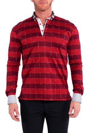Maceoo Men's Newton Block Stripe Button-Down Polo