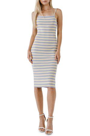 ENGLISH FACTORY Women's Stripe Body-Con Sweater Dress