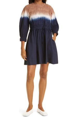 APIECE APART Women's Aldea Smocked Long Sleeve Organic Cotton Minidress