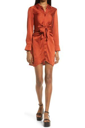 Steve Madden Women's Tie Waist Long Sleeve Satin Shirt Dress