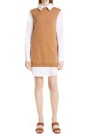 Staud Women's Fern Detachable Collar Long Sleeve Mixed Media Dress
