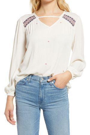 Bobeau Women Long sleeves - Women's Embroidered Long Sleeve Shirt