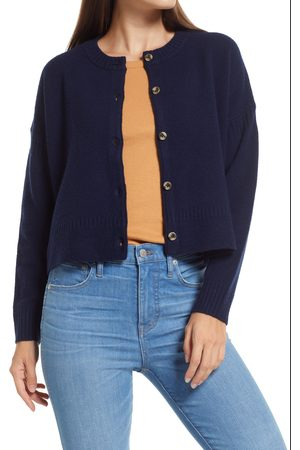 Madewell Women's Clemence Crop Wool Blend Cardigan Sweater