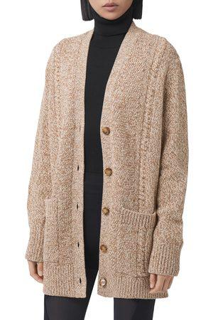 Burberry Women's Macie Horseferry Logo Print Oversize Wool & Cotton Cardigan