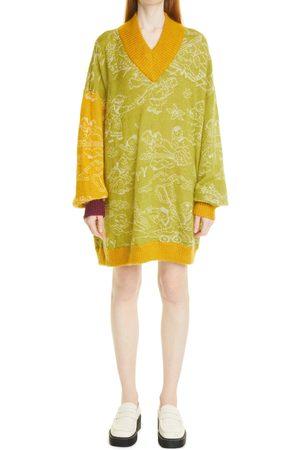 Yanyan Women's Laza Mono Long Sleeve Oversize Mohair Blend Sweater Dress