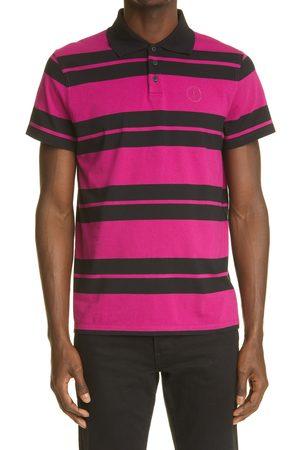 Saint Laurent Men's Stripe Monogram Cotton Polo