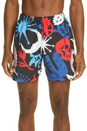 Alexander McQueen Men Swim Shorts - Men's Papercut Print Swim Trunks