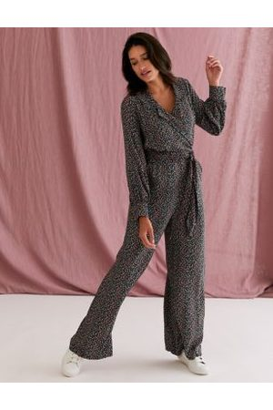 M&S X GHOST Floral Collared Belted Wide Leg Jumpsuit